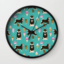 shiba inu black and tan ice cream dog breed pet pattern dog mom Wall Clock