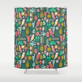 Tropical Vacation Island print pattern fun beach surf sand fun gift for trendy dorm room bright  Shower Curtain