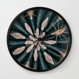 Cactus Plant Close-up Photogrpahy Round Photo Wall Clock