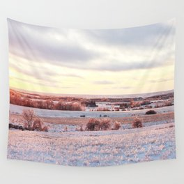 Sunset on ice Wall Tapestry