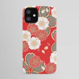 Japanese Vintage Red Black White Floral Kimono Pattern iPhone Case