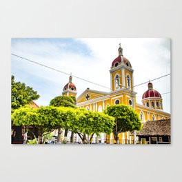 View of Granada Cathedral at the Center of Parque Central De Granada in Nicaragua Canvas Print