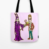 brad pitt Tote Bags featuring Brangelina Valentine!  Brad Pitt and Angelina Jolie as Tyler Durden (Fight Club) and Maleficent!  by beetoons