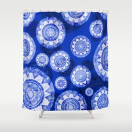 Deepest Blue Floating Vintage Boho Mandala Print Shower Curtain