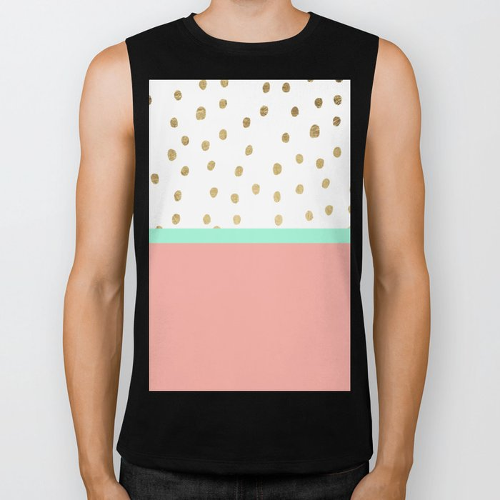 Coral teal color block faux gold foil polka dots pattern  Biker Tank