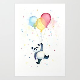 Birthday Panda Balloons Cute Animal Watercolor Art Print