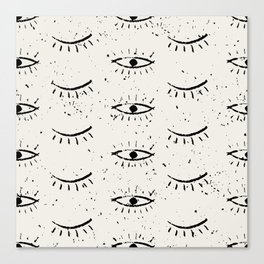 Vintage eyes hand drawn illustration pattern Canvas Print