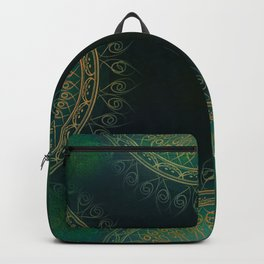 """Dark Clover Green & Gold Mandala Deluxe"" Backpack"