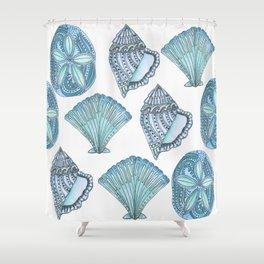 Watercolor Blue Seashells  Shower Curtain