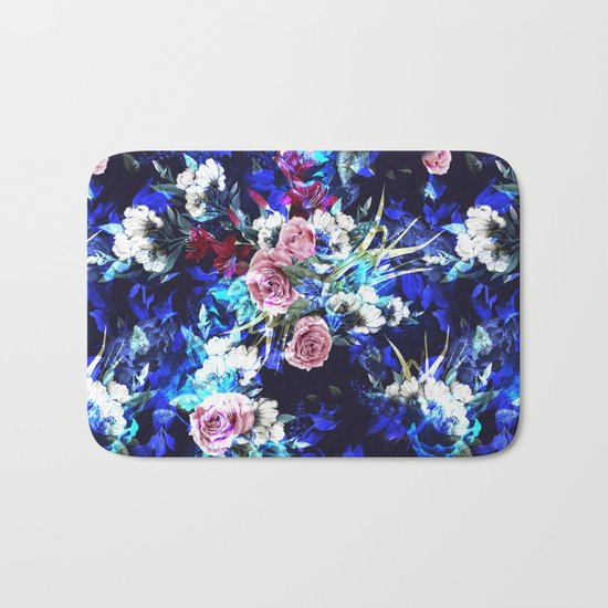 Dark Blue Floral Pattern Bath Mat