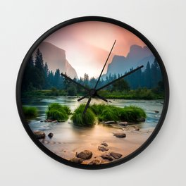 Photos Yosemite California USA Nature mountain park Forests sunrise and sunset landscape photography stone Grass Rivers Mountains Parks forest Scenery Sunrises and sunsets river Stones Wall Clock