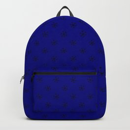 Black on Navy Blue Snowflakes Backpack