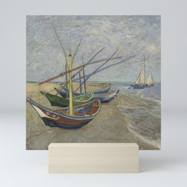 Fun Neck Gaiter Vincent Van Gogh Fishing Boats on the Beach at Saintes Maries Neck Gator Mini Art Print