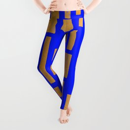 Abstract Bamboo Blue Gold Mid-Century Leggings