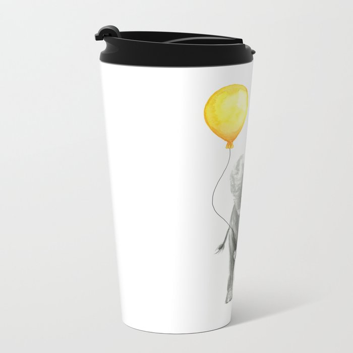 Elephant Watercolor Yellow Balloon Whimsical Baby Animals Metal Travel Mug