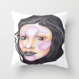 Blue and Purple with Wrapped Hair  Throw Pillow