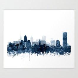 Buffalo Skyline Watercolor Navy Blue Print by Zouzounio Art Art Print