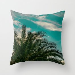 Palms on Turquoise - II Throw Pillow