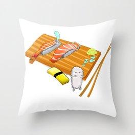 sleepwalk sushi for Japanese food fans Throw Pillow