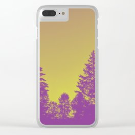 Pines with ghost moon Clear iPhone Case