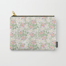 Pink Dogroses on Taupe Carry-All Pouch