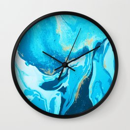 Blue Water color Gold glitters Wall Clock