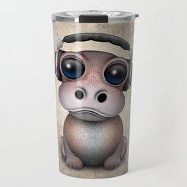 Cute Baby Hippo Dj Wearing Headphones Travel Mug