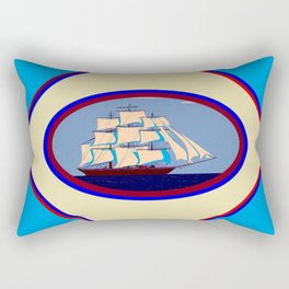 A Nautical Scene with Clipper Ship with Sky Blue Background Rectangular Pillow