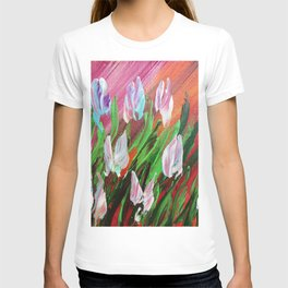 Tuips Palette knife painting floral art green red blue by Ksavera T-shirt