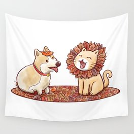 Corgi dog and a cat imitating lion with mane made of autumn leaves Wall Tapestry