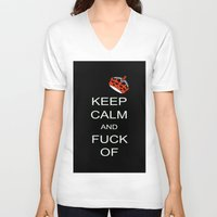 keep calm V-neck T-shirts featuring keep calm by laika in cosmos