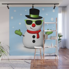 Cool Snowman with Shades and Adorable Smirk Wall Mural