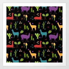 Llama pattern 2 Art Print