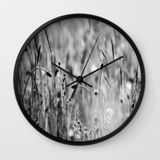 Once in the meadow - photography black&white Wall Clock