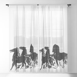 Black and White Horse Print Sheer Curtain