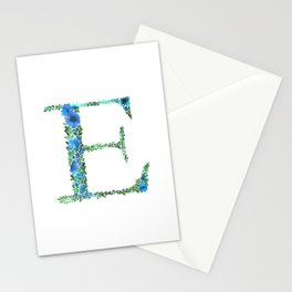 Floral Monogram Letter E Stationery Cards