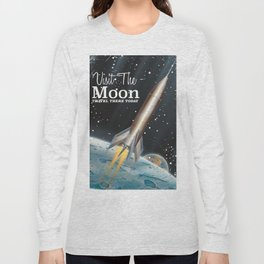 visit the moon vintage science fiction poster Long Sleeve T-shirt