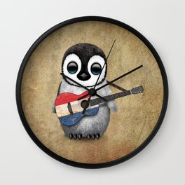 Baby Penguin Playing Dutch Flag Acoustic Guitar Wall Clock