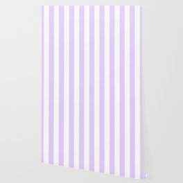 Chalky Pale Lilac Pastel and White Beach Hut Stripes Wallpaper