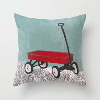 plain Throw Pillows featuring Wagon plain by Patty Haberman