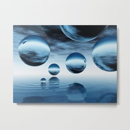 Blue Spheres Metal Print