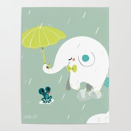 Rainy Elephant Poster