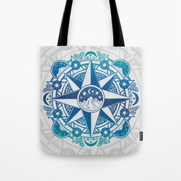 Journey to Moon Mountain | Turquoise Navy Ombré Tote Bag