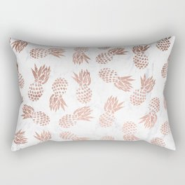 Modern faux rose gold pineapples white marble pattern Rectangular Pillow