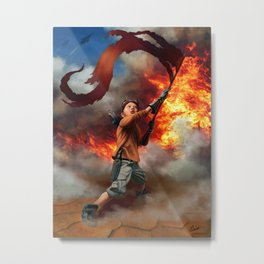 Young Warrior Waving Flag Sci Fi Fire Metal Print
