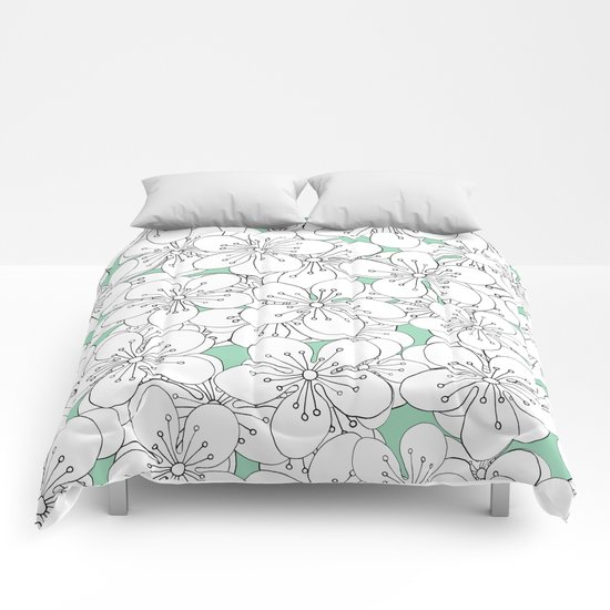 Cherry Blossom With Mint Blocks - In Memory of Mackenzie Comforters