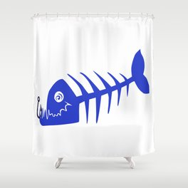 Pirate Bad Fish blue- pezcado Shower Curtain