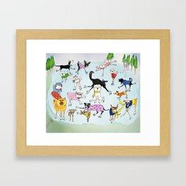 Dogs on Ice! Framed Art Print