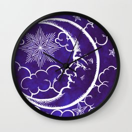 Moon vintage violet Wall Clock