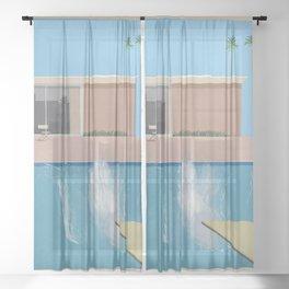 A Bigger Splash - David Hockney, 1967 Sheer Curtain